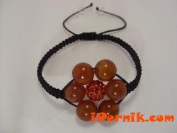 Гривна шамбала  цветето на живота изработена от карнеол и червено топче шамбала 1397047759